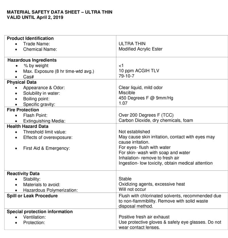 quick fix MATERIAL SAFETY DATA SHEET page 2